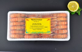 Frz Prawns 1kg plastic tray label